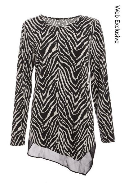 Black Chiffon Zebra Print Top
